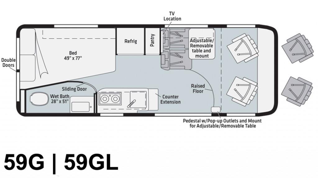 Winnebago Travato 59G and 59GL Floorplan