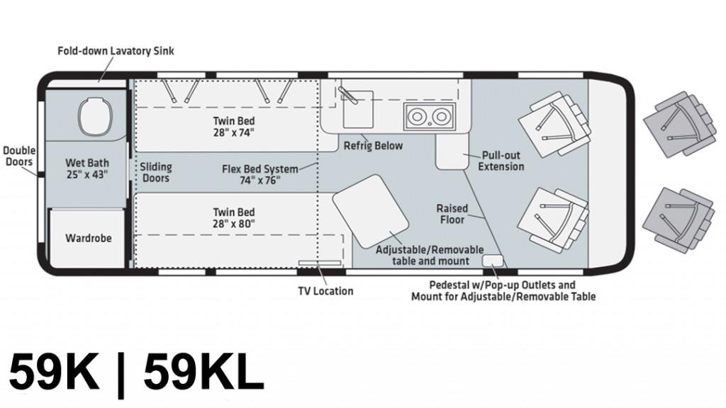 Winnebago Travato 59K and 59KL Floorplan