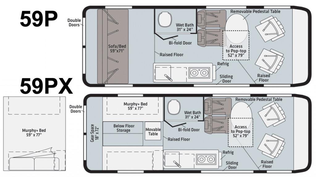 Winnebago Solis 59P and Solis 59PX Floorplan