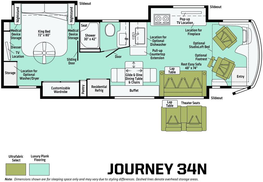 Winnebago Journey 34N Floorplan