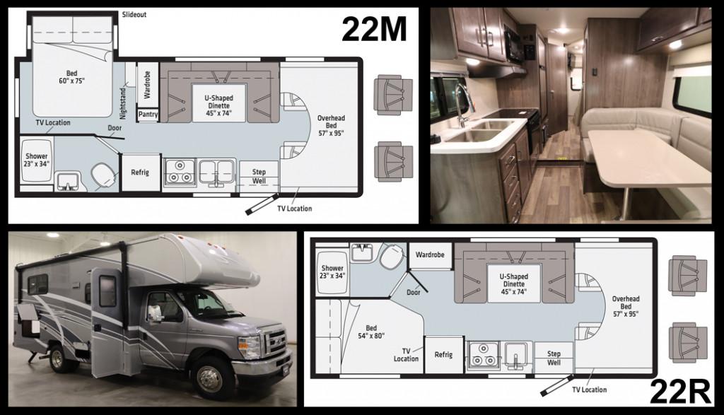 Winnebago Minnie Winnie and Spirit 22M and 22R Floorplans